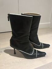 Women's Jimmy Choo Black White Leather Ankle Boots Size 39.5 6.5 UK