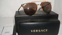 Versace New Sunglasses Orange Pale Gold Brown Mirror VE2181 125273 57 140