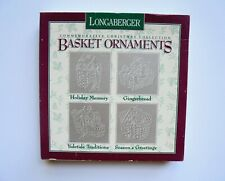 LONGABERGER BASKET PEWTER CHRISTMAS ORNAMENTS #71901 (1996) NEW IN BOX