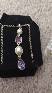 Avon Costume Necklace Pearl & Purple Stones. Adjustable Length