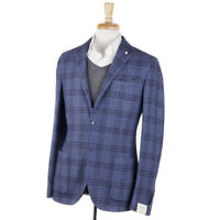 NWT $950 L.B.M. 1911 Sky Blue Check Wool-Cotton-Silk Sport Coat Slim 40 R
