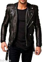 Tailor Custom Made All Sizes Genuine Lambskin Leather Jacket Biker Motorcycle