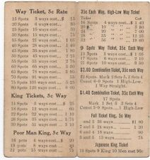 Old Casino Betting Card with Possible Winnings Keno ?