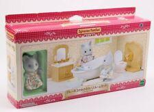 EPOCH SYLVANIAN FAMILIES SYFC17048 GREY CAT SISTER BATH ROOM SET W/ FIGUTRE