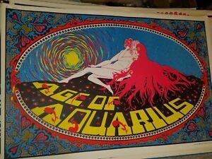 AGE OF AQUARIUS 1970 70 VINTAGE BLACKLIGHT NOS POSTER ZODIAC SEX CARESS -NICE!