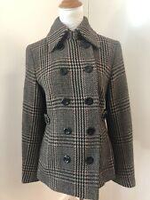 karen millen wool houndstooth coat jacket black Sz 6 US 10 UK 36 EU $399 FS