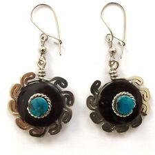 Earrings With Border And Turquoise Stone Goat Horn Alpaca Silver Small Round