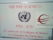 folder Monacophil MONACO 2 euro 2013 fdc unc 20 anni adesione ONU UNO UN