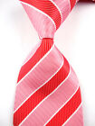New Men's 100% Silk Jacquard Woven Striped Mens Tie Necktie Red Pink White L264