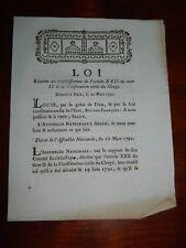 261-REVOLUTION 1791 Loi relative à la Constitution Civile du Clergé