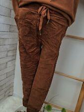 Hose STRETCH Jogpants-Style VELOURS rost toffee braun 36 38 onesize
