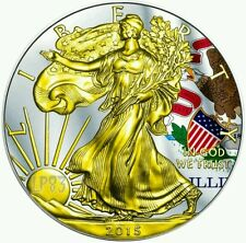 2015 1 Oz Silver ILLINOIS US STATE FLAG American Eagle Coin N 24K GOLD GILDED..