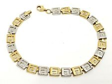 """9ct yellow gold and white gold 7.5"""" long Bracelet Fully Hallmarked"""