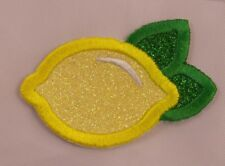 Embroidered Glitter Yellow Lemon Fruit Lemonade Applique Jacket Patch Iron On