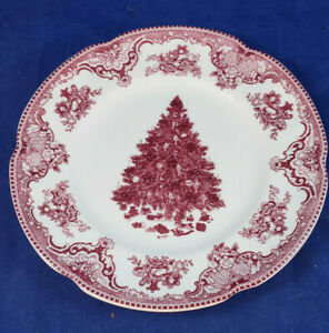 """Johnson Brothers Old Britain Castles Pink 8"""" Christmas Tree Salad Plate"""