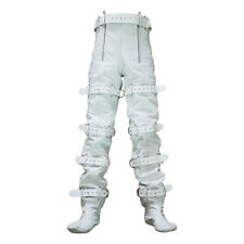 Mens Bondage Chastity Jeans Real White Leather Locking With Rear Zip