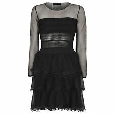 ANTONINO VALENTI $1,740 black see-through sheer mesh lace Iris dress 40-IT/4 NEW