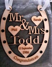 PERSONALISED WOODEN WEDDING GIFT HORSE SHOE MR AND MRS