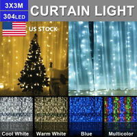 US LED Curtain Icicle Wave Waterfall String Lights Lamp Wedding Party Outdoor US
