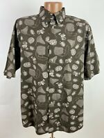 Vintage Fly Fishing Shirt Mens Large Brown Short Sleeve Button-Down Reel Net