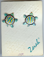 ZARAH VINTAGE STERLING SILVER ENAMEL TURTLE EARRINGS - ON ORIGINAL CARD