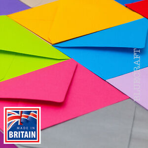 50 High Quality Coloured C6 114x162mm Envelopes for A6 Cards 100gsm FREE UK P&P