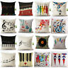 "18"" Retro Music Note Print Throw Pillow Case Art Home Office Decor Cushion Cover"