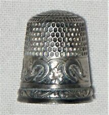 DC: Stern Bros Sterling Silver Thimble, Horseshoes and 4-Leaf Clover