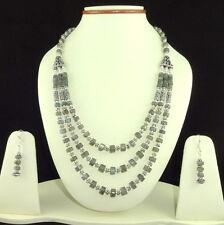 Necklace earrings natural labradorite gemstone beaded handmade charming jewelry