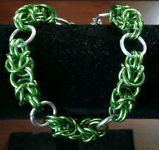 Byzantine Chainmaille Bracelet Green And Silver