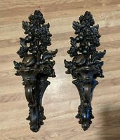2 Vntg MCM Syroco Plastic Candle Holders Wall Sconces Wood Look Fruits & Flowers