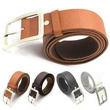 Womens Men Casual Waist Strap Belt Dress Jeans Buckle PU Leather Waistband Belts
