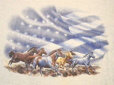Vintage Wild Horses Herd American Flag West Country Girl T Shirt M