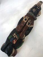 "Vintage Large 20"" Rough Carve Wood Hopi Native American PJ Doffy Signed Katchina"