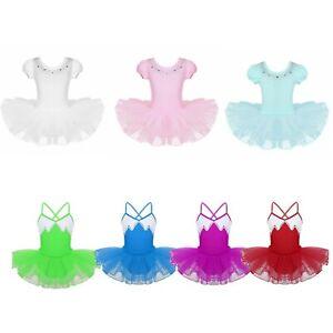 Kids Girls Ballet Dance Wear Child Leotard Tutu Dress Gym Mesh Skirt Costumes