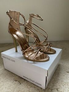 Linzi Rose Gold Strappy Heels Size 6