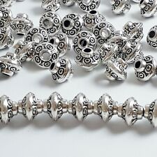 20pcs Saucer Tube Spacer Beads Antique Silver Jewellery Crafts 7x6mm - B0125775