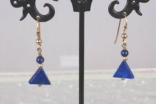 BLUE LAPIS STONE GOLD TONE WIRE EARRINGS FASHION  1722B