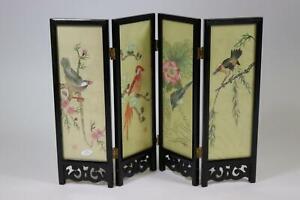 Tisch Paravent chinesische Gemälde auf Stoff Vögel Adelige Malerei (RK497)