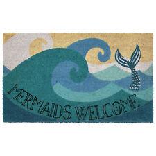 Mermaids Welcome Coir Door Mat Nautical Beach Cottage Mermaid Outdoor