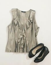 Cue Metallic Peplum Frill Sleeveless Blouse Top {Size 12}