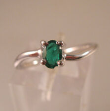 10K WG 1/4ct Genuine Natural Emerald Ring Solitiaire Oval Cut Size 6.5 Estate