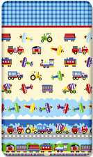 100% COTTON FITTED SHEET PRINTED DESIGN BABY CRIB 90x40cm Trucks