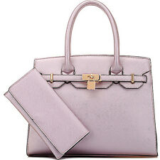Light purple metallic finish handbag with wallet