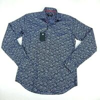 Bugatchi Mens Button Up Shirt Midnight Blue Floral Long Sleeve Shaped Fit S $179