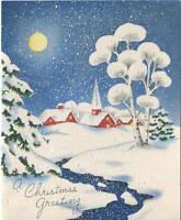 VINTAGE CHRISTMAS EVE FULL MOON SNOW RED CHURCH HOUSE MID CENTURY CARD ART PRINT