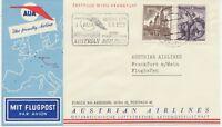 ÖSTERREICH AUA ERSTFLUG 1958 WIEN – FRANKFURT (Stempel-Nr. 3), K1 WIEN/FLUGHAFEN