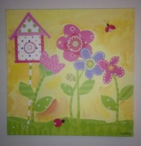 """OOPSY DAISY TOO Sunshine Yellow Flower Canvas Wall Art Winborg Sisters 21""""x 21"""""""