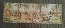 Vintage Tapestry Made in Belgium Victorian Style Garden Scene with Couples