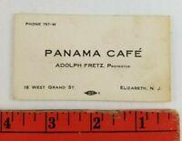 Vintage 1930's? Panama Cafe Elizabeth New Jersey Business Card